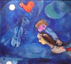 Coq Rouge Dans la Nuit by Marc Chagall