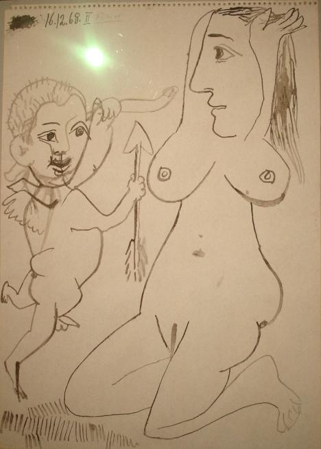 Nu agenouillé et Amour by Pablo Picasso