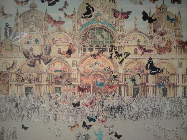 """Vichy- The Butterfly Man in Venice: Homage to Damien Hirst"", 2011; giclee on canvas"