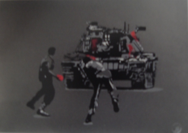 Paint Bomber by SPQR, Screenprint in colours on silver card, 2008