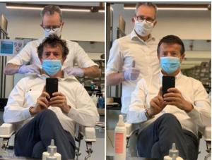 Giorgio Gori at the barbers